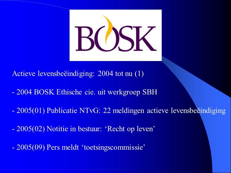 Actieve levensbeëindiging: 2004 tot nu (1) - 2004 BOSK Ethische cie.