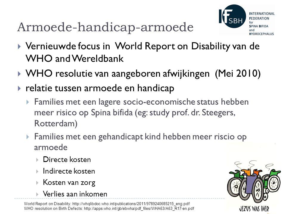 Armoede-handicap-armoede  Vernieuwde focus in World Report on Disability van de WHO and Wereldbank  WHO resolutie van aangeboren afwijkingen (Mei 2010)  relatie tussen armoede en handicap  Families met een lagere socio-economische status hebben meer risico op Spina bifida (eg: study prof.