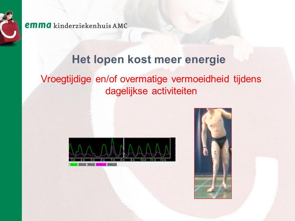 Het lopen kost meer energie Vroegtijdige en/of overmatige vermoeidheid tijdens dagelijkse activiteiten