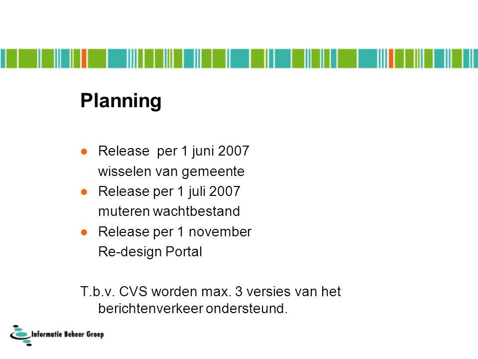 Planning Release per 1 juni 2007 wisselen van gemeente Release per 1 juli 2007 muteren wachtbestand Release per 1 november Re-design Portal T.b.v.