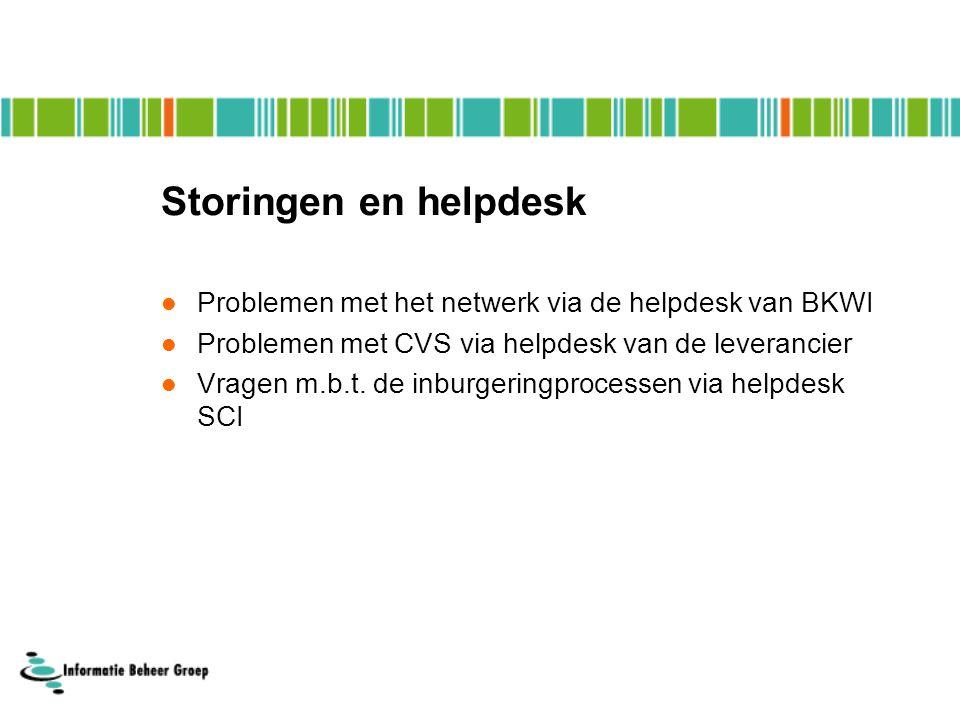 Storingen en helpdesk Problemen met het netwerk via de helpdesk van BKWI Problemen met CVS via helpdesk van de leverancier Vragen m.b.t.
