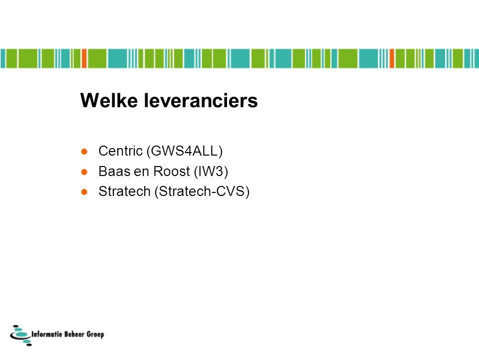 Welke leveranciers Centric (GWS4ALL) Baas en Roost (IW3) Stratech (Stratech-CVS)