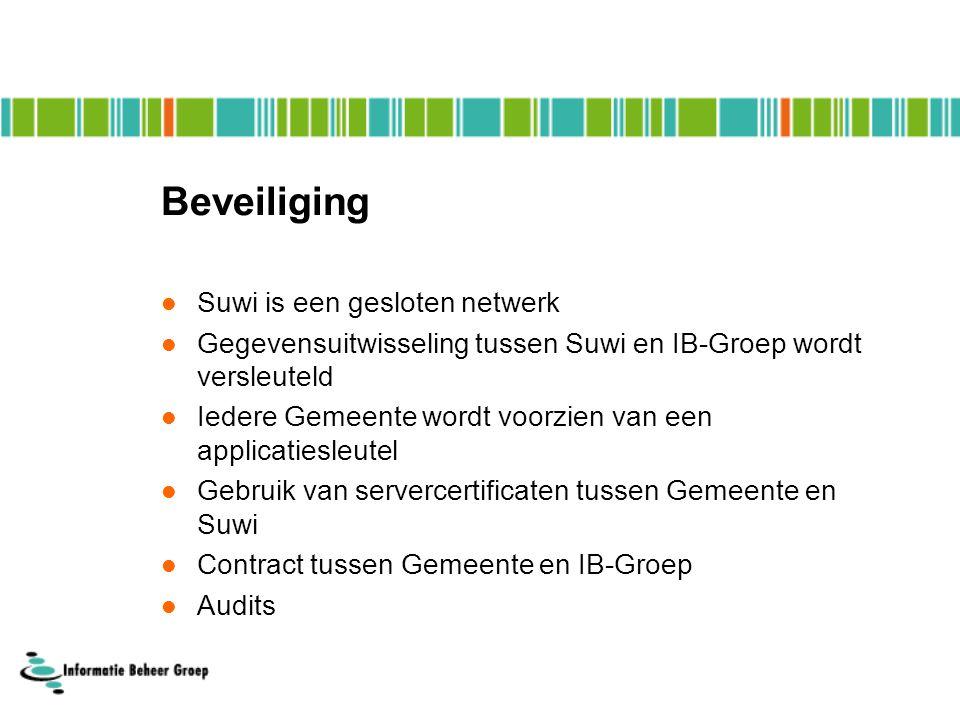 Beveiliging Suwi is een gesloten netwerk Gegevensuitwisseling tussen Suwi en IB-Groep wordt versleuteld Iedere Gemeente wordt voorzien van een applicatiesleutel Gebruik van servercertificaten tussen Gemeente en Suwi Contract tussen Gemeente en IB-Groep Audits