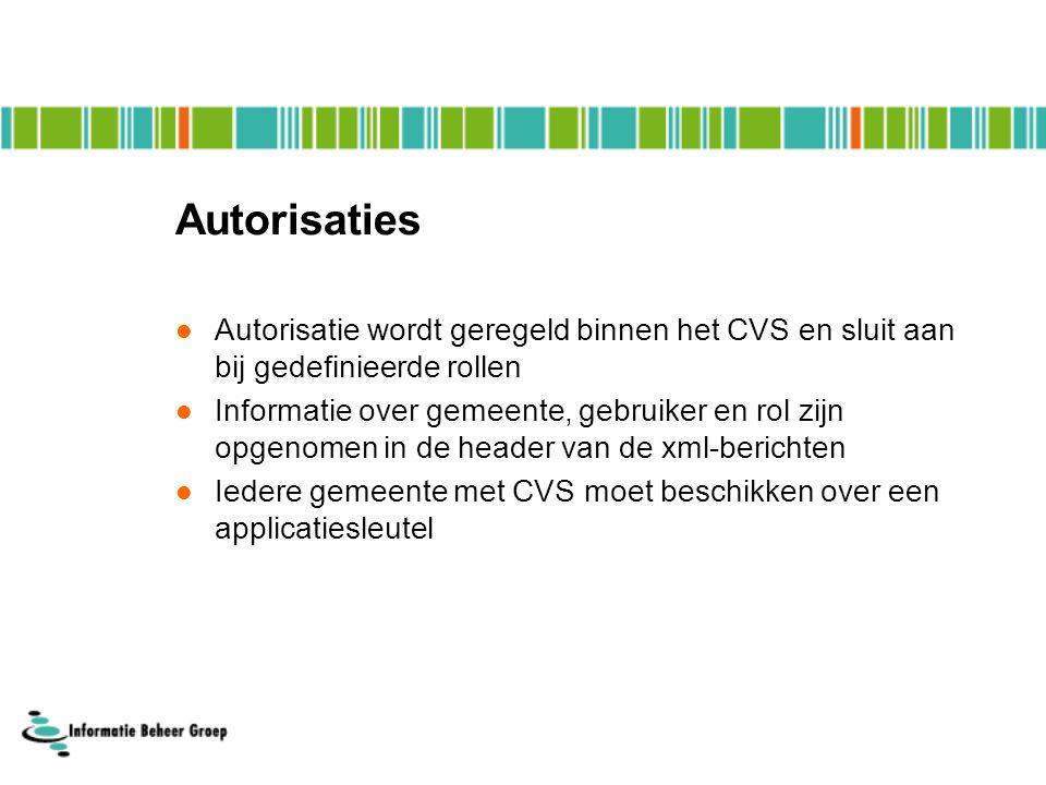 Autorisaties Autorisatie wordt geregeld binnen het CVS en sluit aan bij gedefinieerde rollen Informatie over gemeente, gebruiker en rol zijn opgenomen in de header van de xml-berichten Iedere gemeente met CVS moet beschikken over een applicatiesleutel