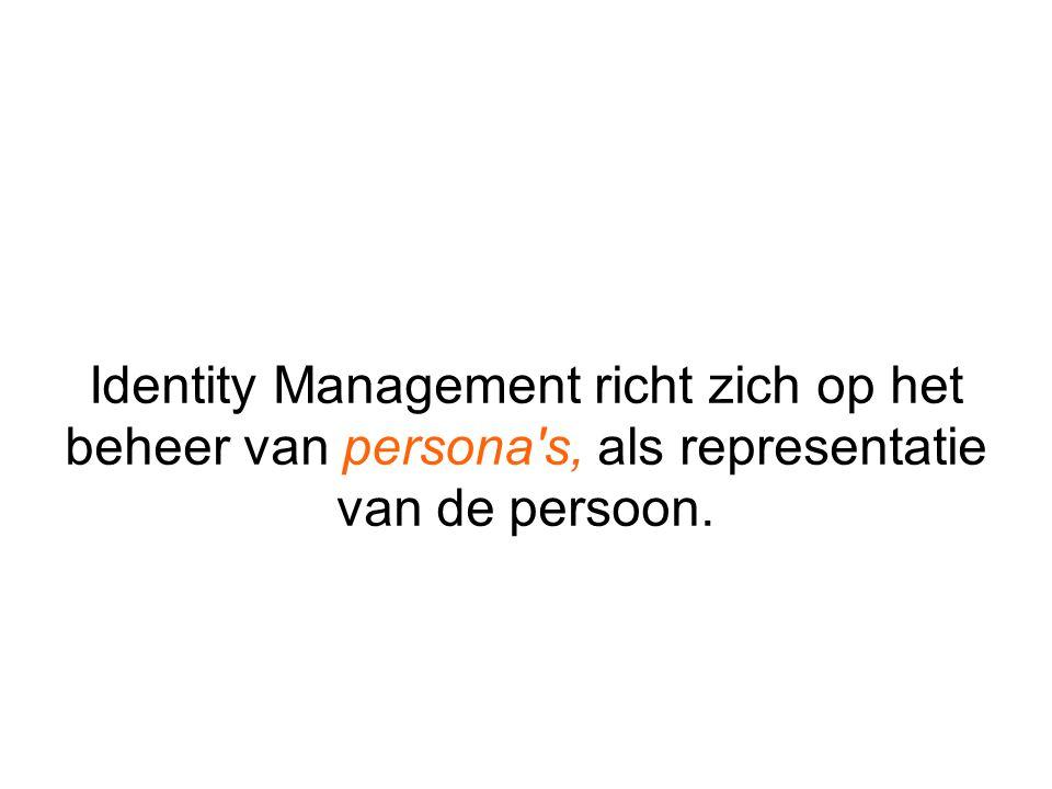 Identity Management richt zich op het beheer van persona's, als representatie van de persoon.