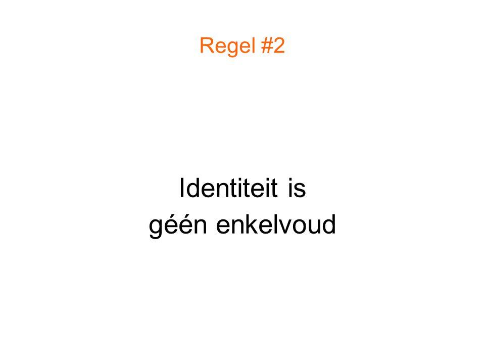 Regel #2 Identiteit is géén enkelvoud