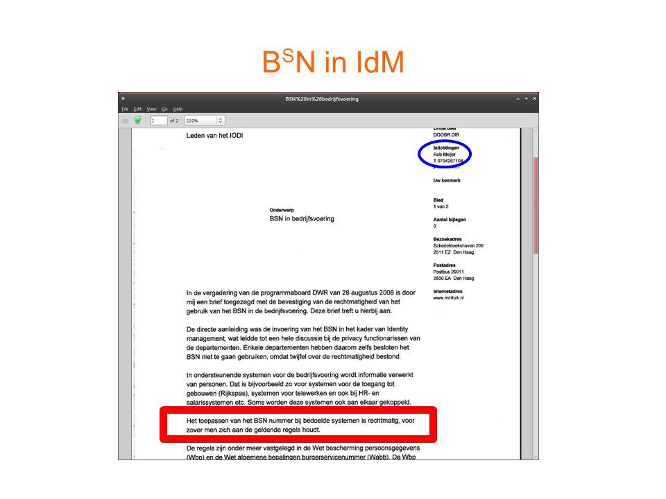 B S N in IdM