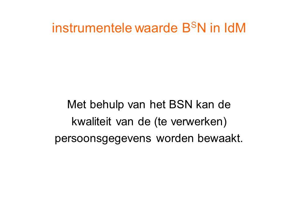 instrumentele waarde B S N in IdM Met behulp van het BSN kan de kwaliteit van de (te verwerken) persoonsgegevens worden bewaakt.