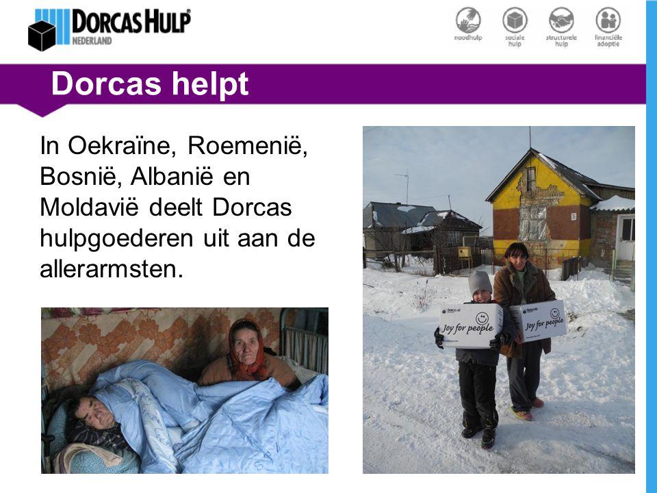 Dorcas helpt In Oekraïne, Roemenië, Bosnië, Albanië en Moldavië deelt Dorcas hulpgoederen uit aan de allerarmsten.