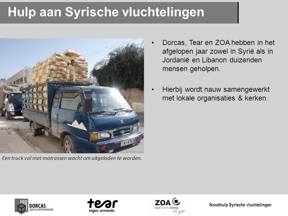 Hulp aan Syrische vluchtelingen Dorcas, Tear en ZOA hebben in het afgelopen jaar zowel in Syrië als in Jordanië en Libanon duizenden mensen geholpen.