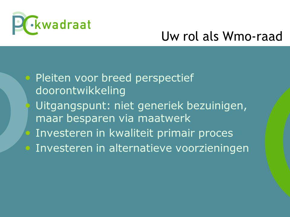 Uw rol als Wmo-raad Pleiten voor breed perspectief doorontwikkeling Uitgangspunt: niet generiek bezuinigen, maar besparen via maatwerk Investeren in k