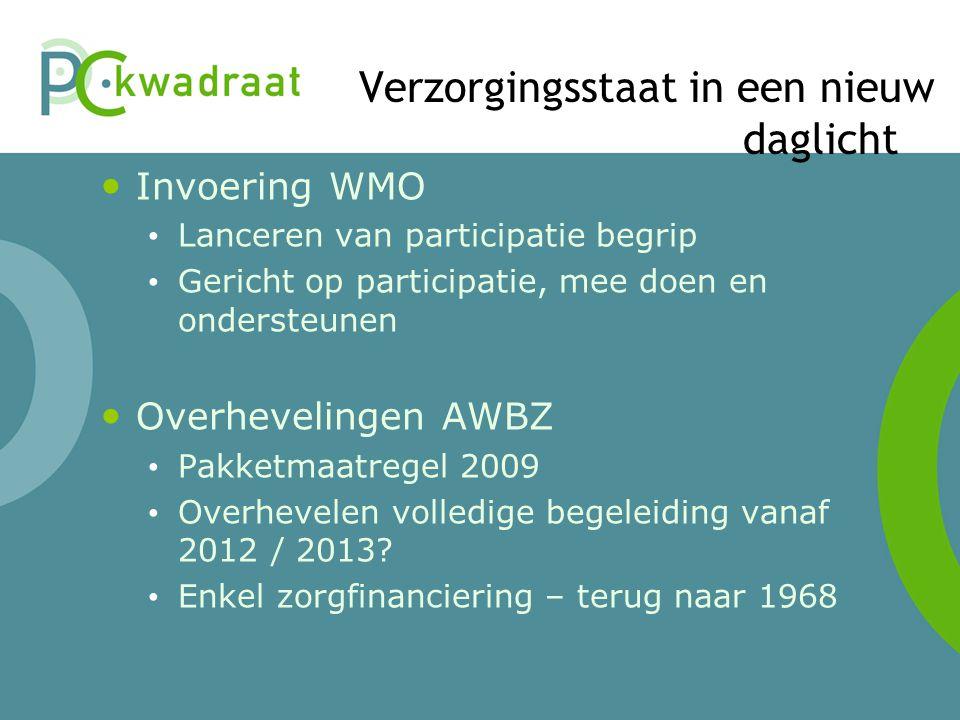 Verzorgingsstaat in een nieuw daglicht Invoering WMO Lanceren van participatie begrip Gericht op participatie, mee doen en ondersteunen Overhevelingen