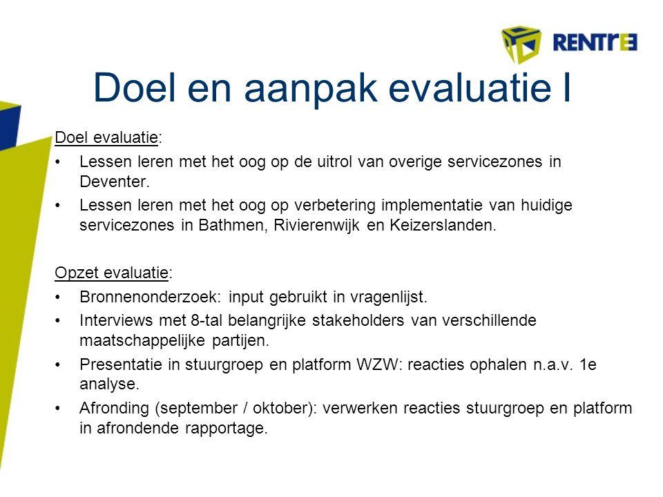 Doel en aanpak evaluatie I Doel evaluatie: Lessen leren met het oog op de uitrol van overige servicezones in Deventer. Lessen leren met het oog op ver