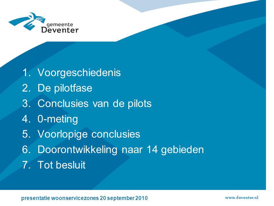 1.Voorgeschiedenis 2.De pilotfase 3.Conclusies van de pilots 4.0-meting 5.Voorlopige conclusies 6.Doorontwikkeling naar 14 gebieden 7.Tot besluit presentatie woonservicezones 20 september 2010
