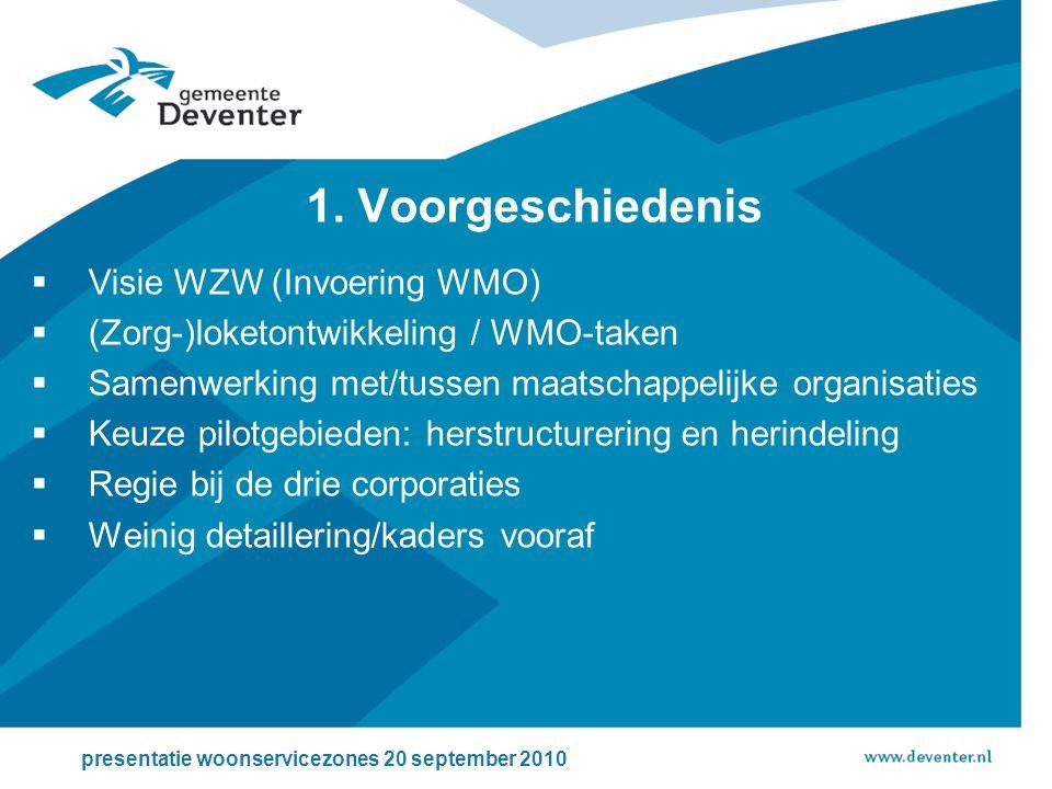  Visie WZW (Invoering WMO)  (Zorg-)loketontwikkeling / WMO-taken  Samenwerking met/tussen maatschappelijke organisaties  Keuze pilotgebieden: herstructurering en herindeling  Regie bij de drie corporaties  Weinig detaillering/kaders vooraf presentatie woonservicezones 20 september 2010 1.
