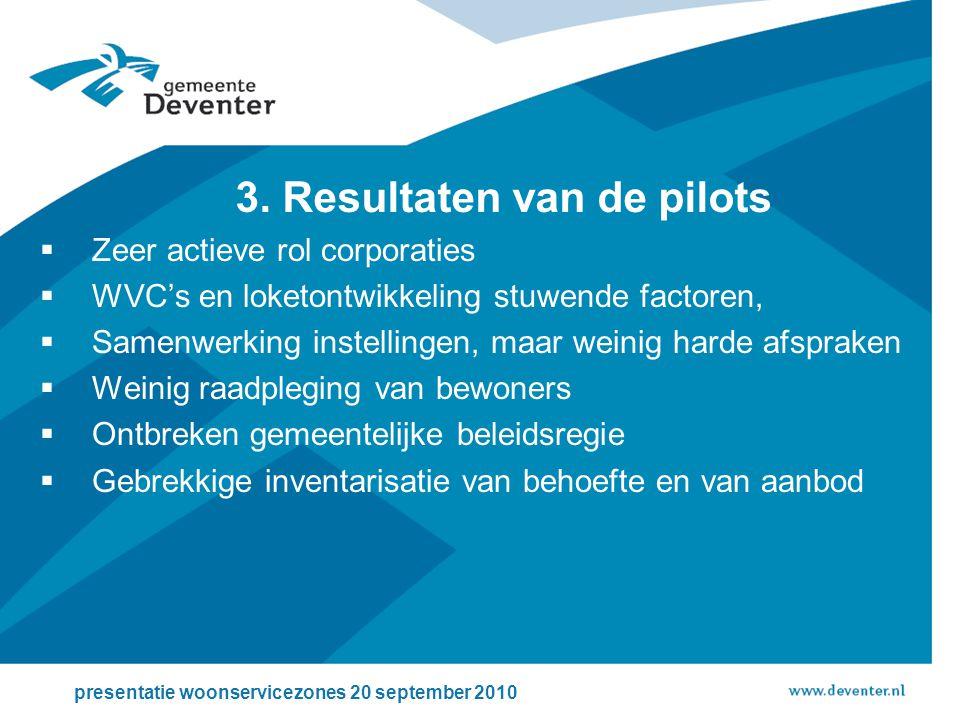 3. Resultaten van de pilots  Zeer actieve rol corporaties  WVC's en loketontwikkeling stuwende factoren,  Samenwerking instellingen, maar weinig ha