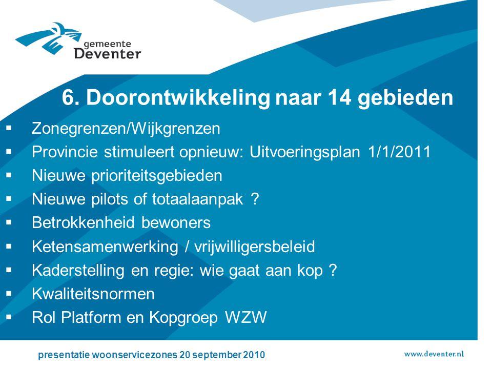 6. Doorontwikkeling naar 14 gebieden presentatie woonservicezones 20 september 2010  Zonegrenzen/Wijkgrenzen  Provincie stimuleert opnieuw: Uitvoeri