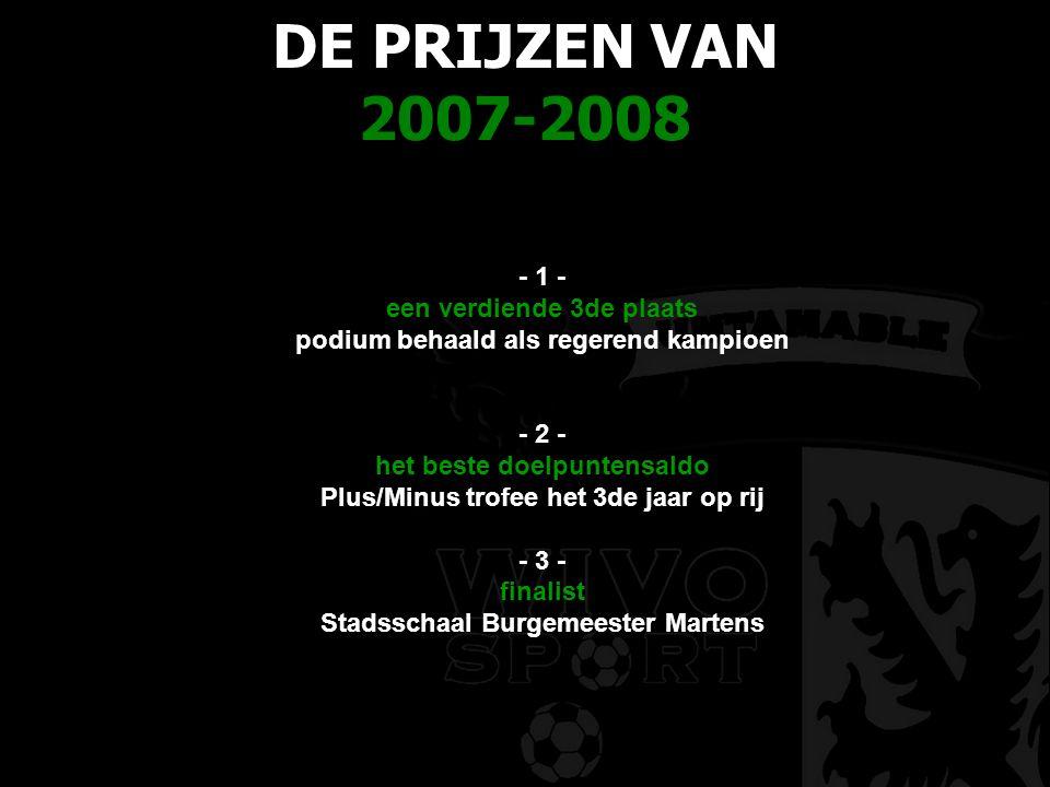 DE PRIJZEN VAN 2007-2008 - 1 - een verdiende 3de plaats podium behaald als regerend kampioen - 2 - het beste doelpuntensaldo Plus/Minus trofee het 3de jaar op rij - 3 - finalist Stadsschaal Burgemeester Martens