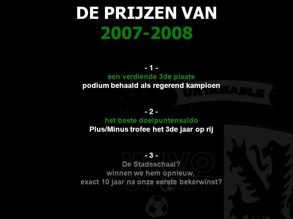 DE PRIJZEN VAN 2007-2008 - 1 - een verdiende 3de plaats podium behaald als regerend kampioen - 2 - het beste doelpuntensaldo Plus/Minus trofee het 3de