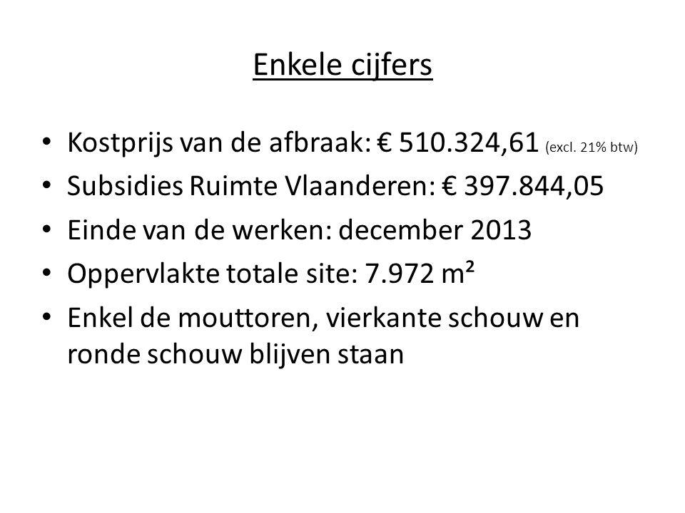Enkele cijfers Kostprijs van de afbraak: € 510.324,61 (excl. 21% btw) Subsidies Ruimte Vlaanderen: € 397.844,05 Einde van de werken: december 2013 Opp