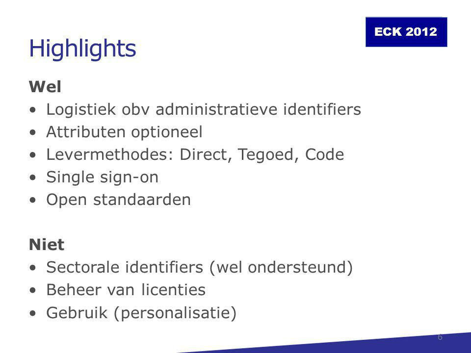 ECK 2012 Highlights Wel Logistiek obv administratieve identifiers Attributen optioneel Levermethodes: Direct, Tegoed, Code Single sign-on Open standaa