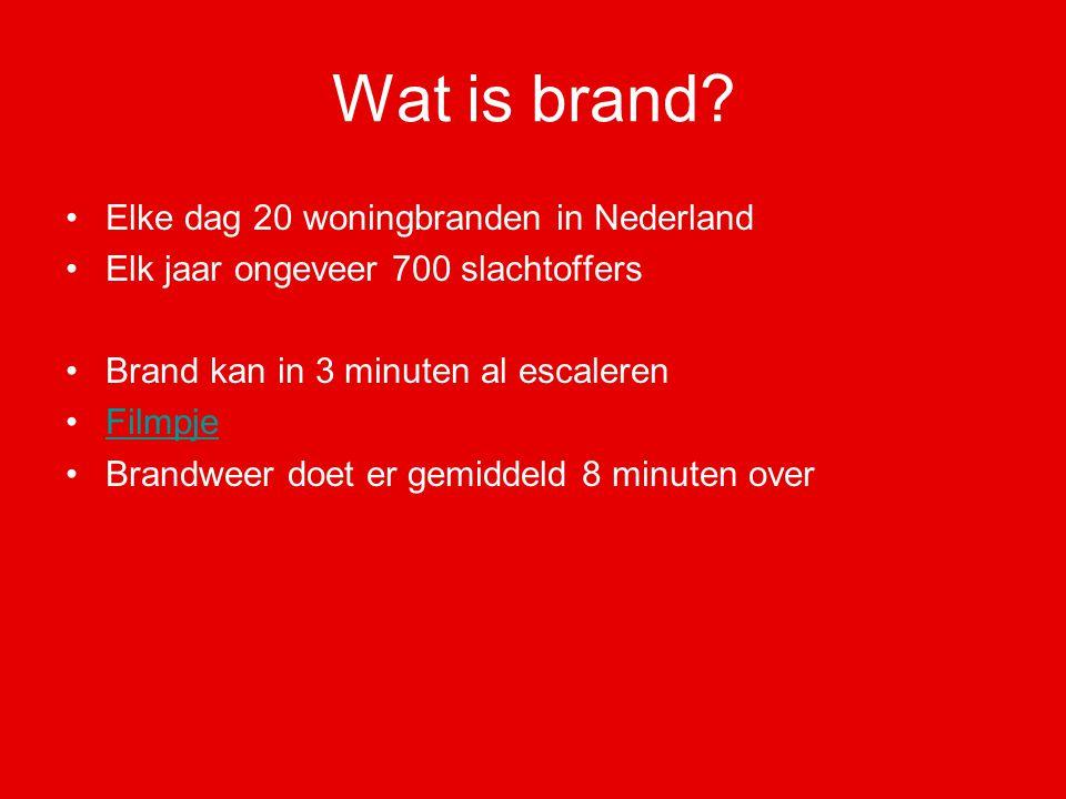 Wat is brand? Elke dag 20 woningbranden in Nederland Elk jaar ongeveer 700 slachtoffers Brand kan in 3 minuten al escaleren Filmpje Brandweer doet er