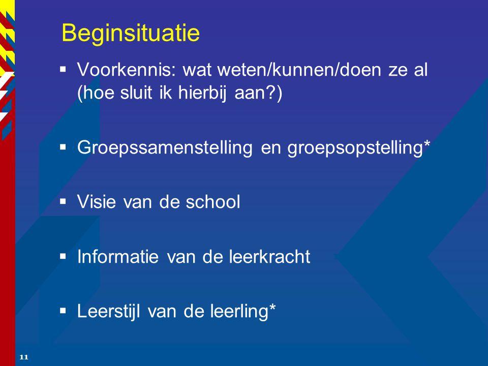 11 Beginsituatie  Voorkennis: wat weten/kunnen/doen ze al (hoe sluit ik hierbij aan?)  Groepssamenstelling en groepsopstelling*  Visie van de school  Informatie van de leerkracht  Leerstijl van de leerling*