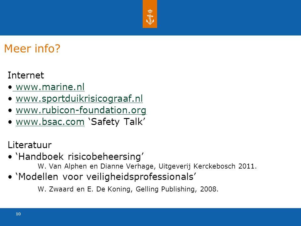 10 Meer info? Internet www.marine.nl www.sportduikrisicograaf.nl www.rubicon-foundation.org www.bsac.com 'Safety Talk'www.bsac.com Literatuur 'Handboe