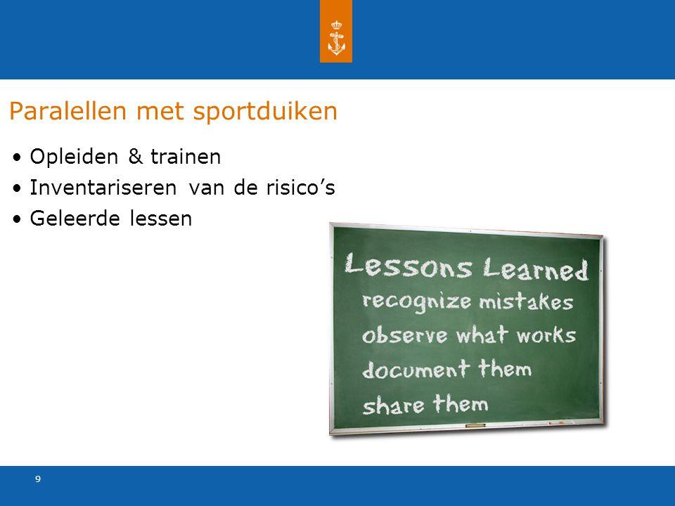 9 Paralellen met sportduiken Opleiden & trainen Inventariseren van de risico's Geleerde lessen