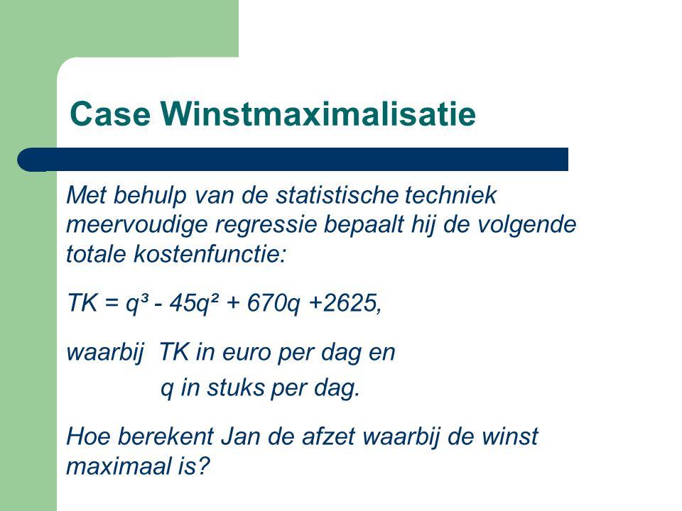 Case Winstmaximalisatie Met behulp van de statistische techniek meervoudige regressie bepaalt hij de volgende totale kostenfunctie: TK = q³ - 45q² + 670q +2625, waarbij TK in euro per dag en q in stuks per dag.