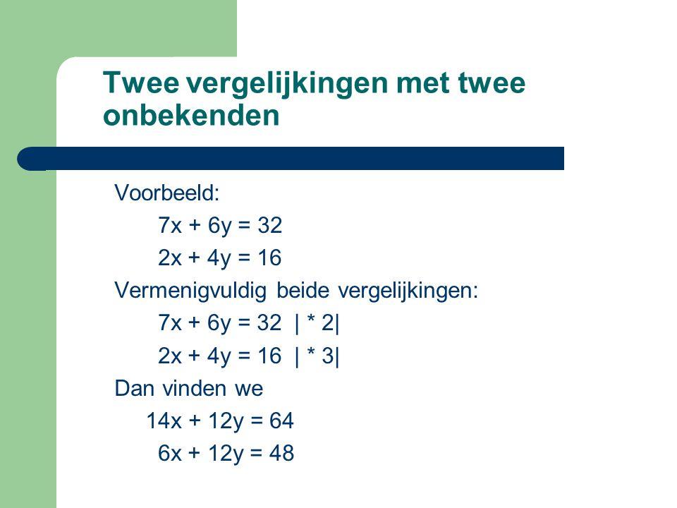 Twee vergelijkingen met twee onbekenden Voorbeeld: 7x + 6y = 32 2x + 4y = 16 Vermenigvuldig beide vergelijkingen: 7x + 6y = 32 | * 2| 2x + 4y = 16 | *