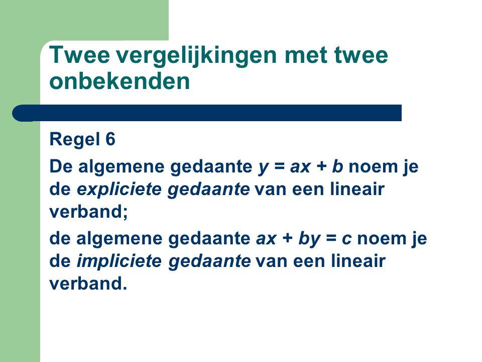 Twee vergelijkingen met twee onbekenden Regel 6 De algemene gedaante y = ax + b noem je de expliciete gedaante van een lineair verband; de algemene ge