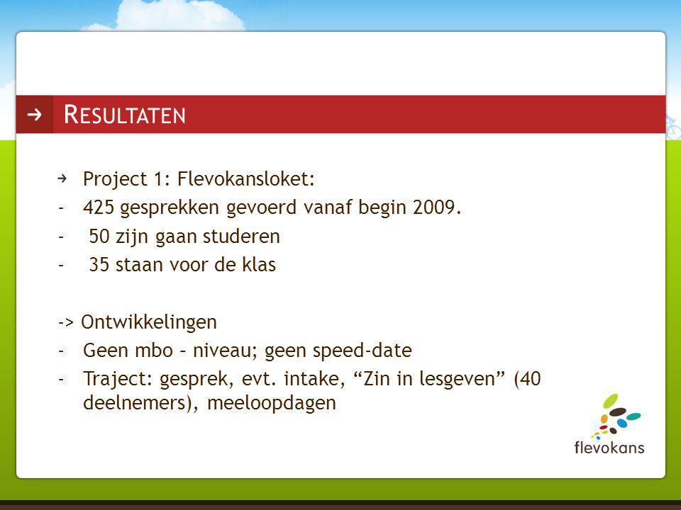 Project 1: Flevokansloket: -425 gesprekken gevoerd vanaf begin 2009. - 50 zijn gaan studeren - 35 staan voor de klas -> Ontwikkelingen -Geen mbo – niv