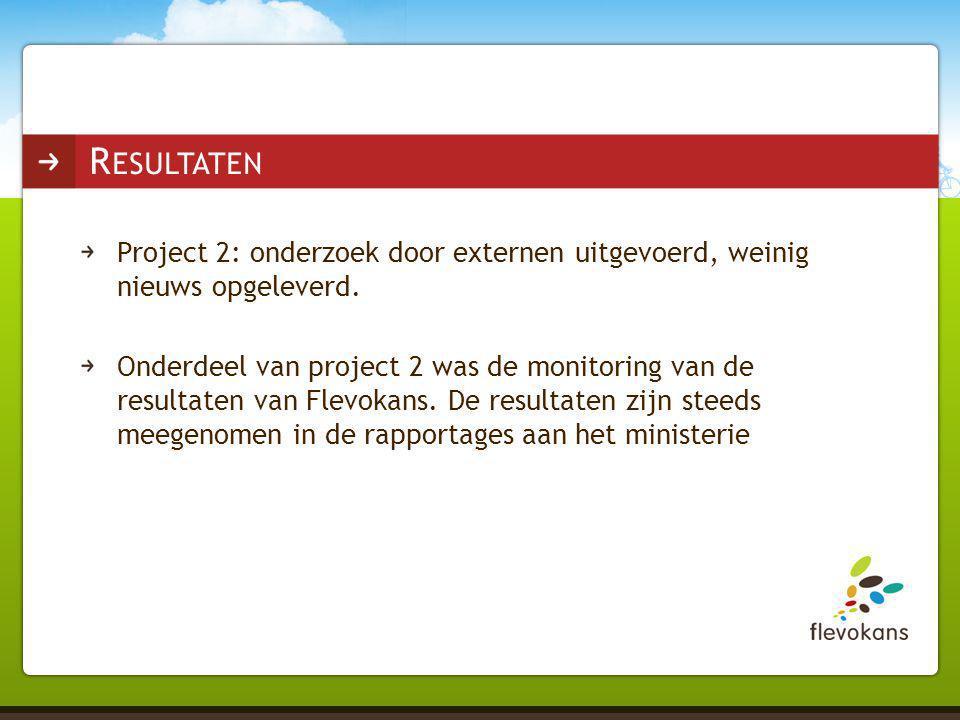 Project 2: onderzoek door externen uitgevoerd, weinig nieuws opgeleverd. Onderdeel van project 2 was de monitoring van de resultaten van Flevokans. De