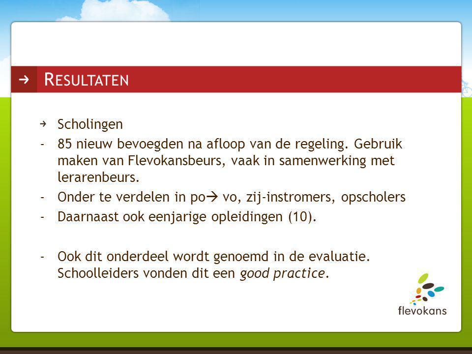 Scholingen -85 nieuw bevoegden na afloop van de regeling. Gebruik maken van Flevokansbeurs, vaak in samenwerking met lerarenbeurs. -Onder te verdelen