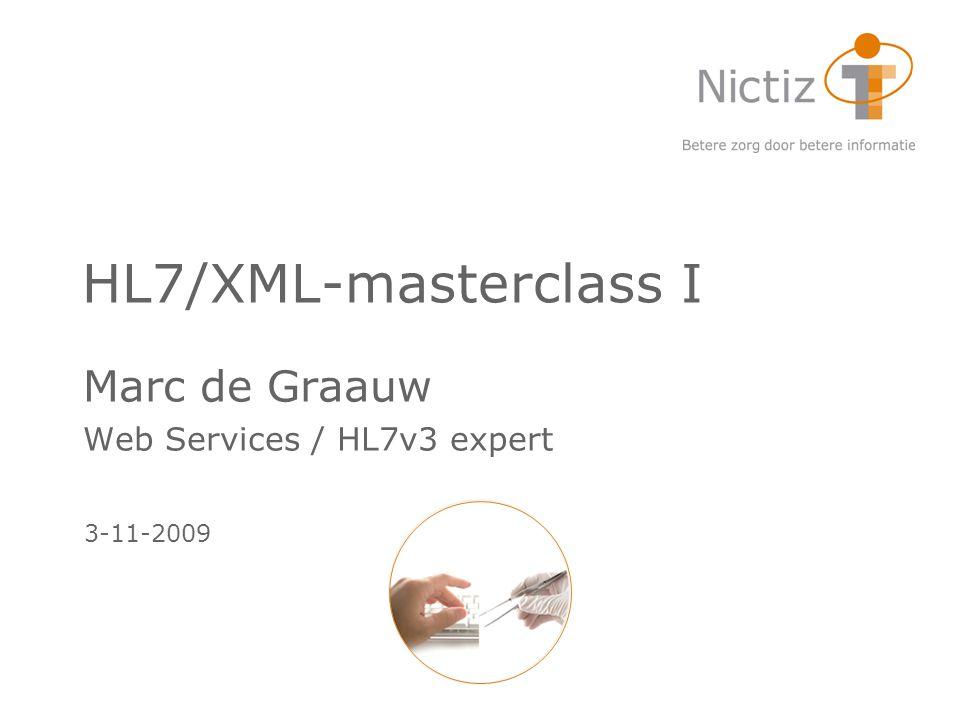 HL7/XML-masterclass I Marc de Graauw Web Services / HL7v3 expert 3-11-2009