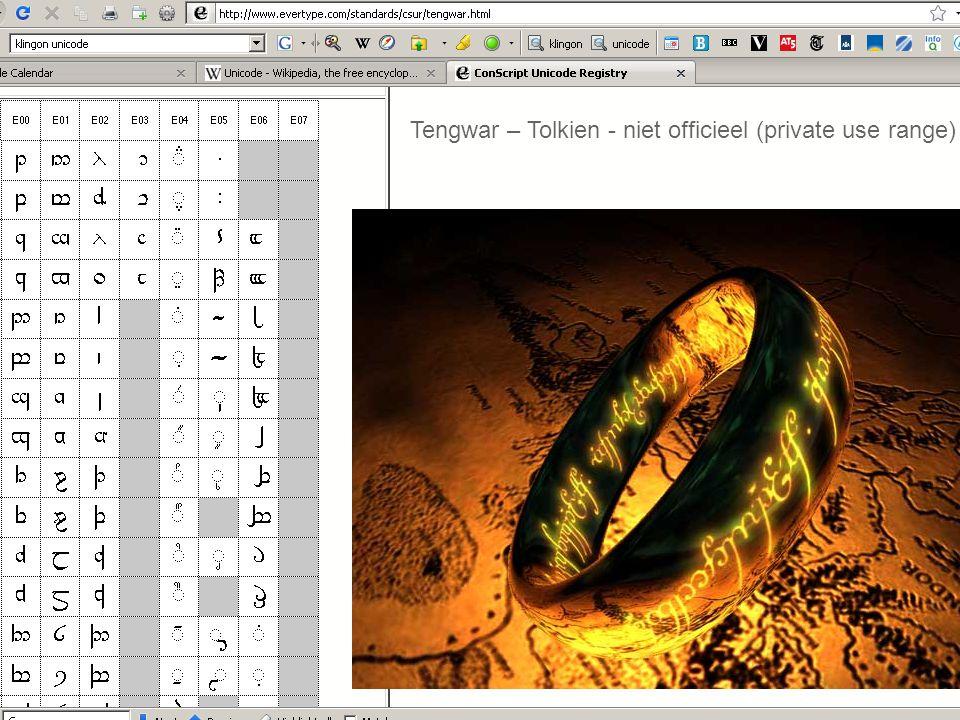 16 Tengwar – Tolkien - niet officieel (private use range)