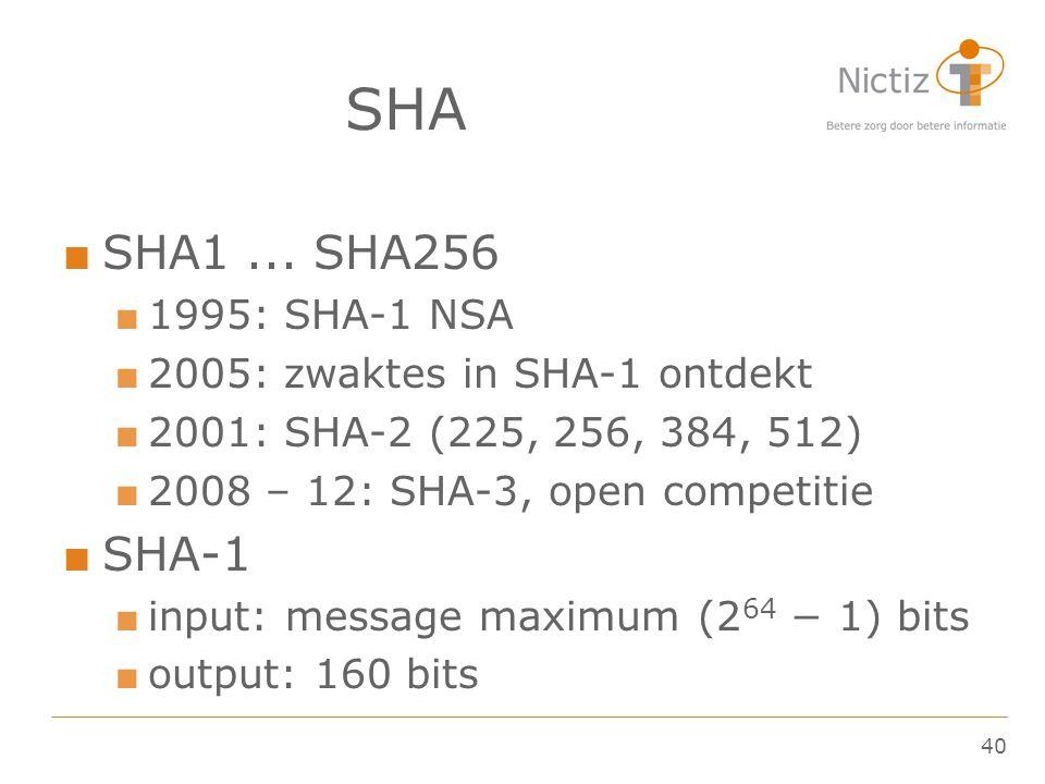40 SHA ■ SHA1... SHA256 ■ 1995: SHA-1 NSA ■ 2005: zwaktes in SHA-1 ontdekt ■ 2001: SHA-2 (225, 256, 384, 512) ■ 2008 – 12: SHA-3, open competitie ■ SH