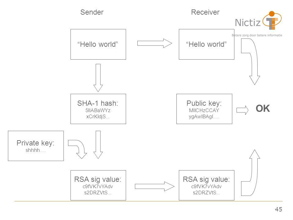 "45 ""Hello world"" SHA-1 hash: 5llABaWYz xCrKIdjS... RSA sig value: c9fVK7vYAdv s2DRZVtS... Private key: shhhh..... Public key: MIICHzCCAY ygAwIBAgI...."