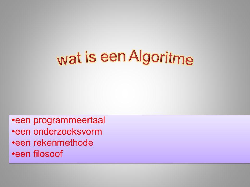 een programmeertaal een onderzoeksvorm een rekenmethode een filosoof een programmeertaal een onderzoeksvorm een rekenmethode een filosoof