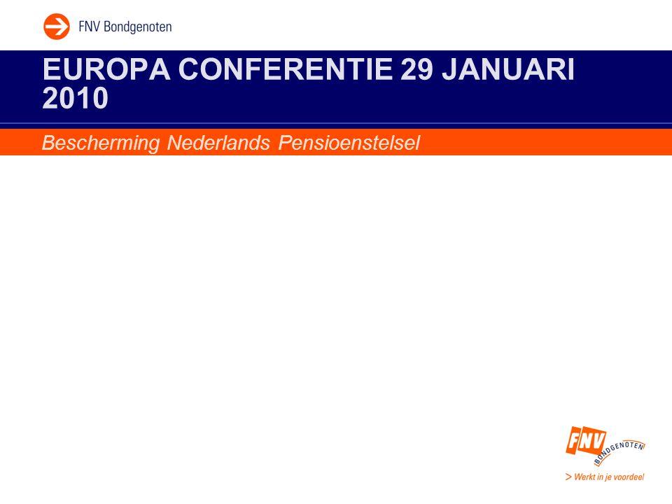 EUROPA CONFERENTIE 29 JANUARI 2010 Bescherming Nederlands Pensioenstelsel