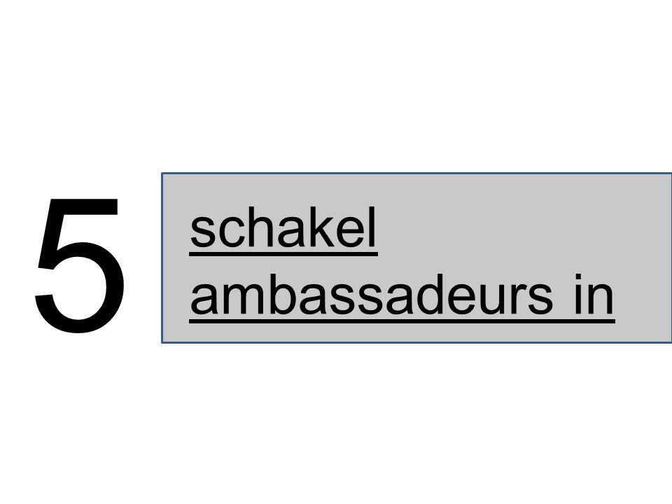 schakel ambassadeurs in 5
