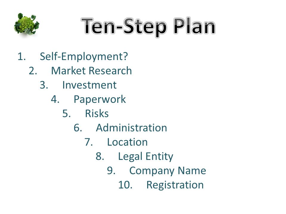 1.Self-Employment? 2.Market Research 3.Investment 4.Paperwork 5.Risks 6.Administration 7.Location 8.Legal Entity 9.Company Name 10.Registration