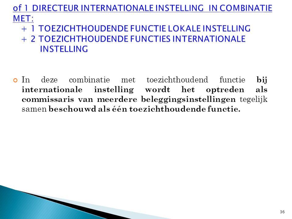 In deze combinatie met toezichthoudend functie bij internationale instelling wordt het optreden als commissaris van meerdere beleggingsinstellingen tegelijk samen beschouwd als één toezichthoudende functie.
