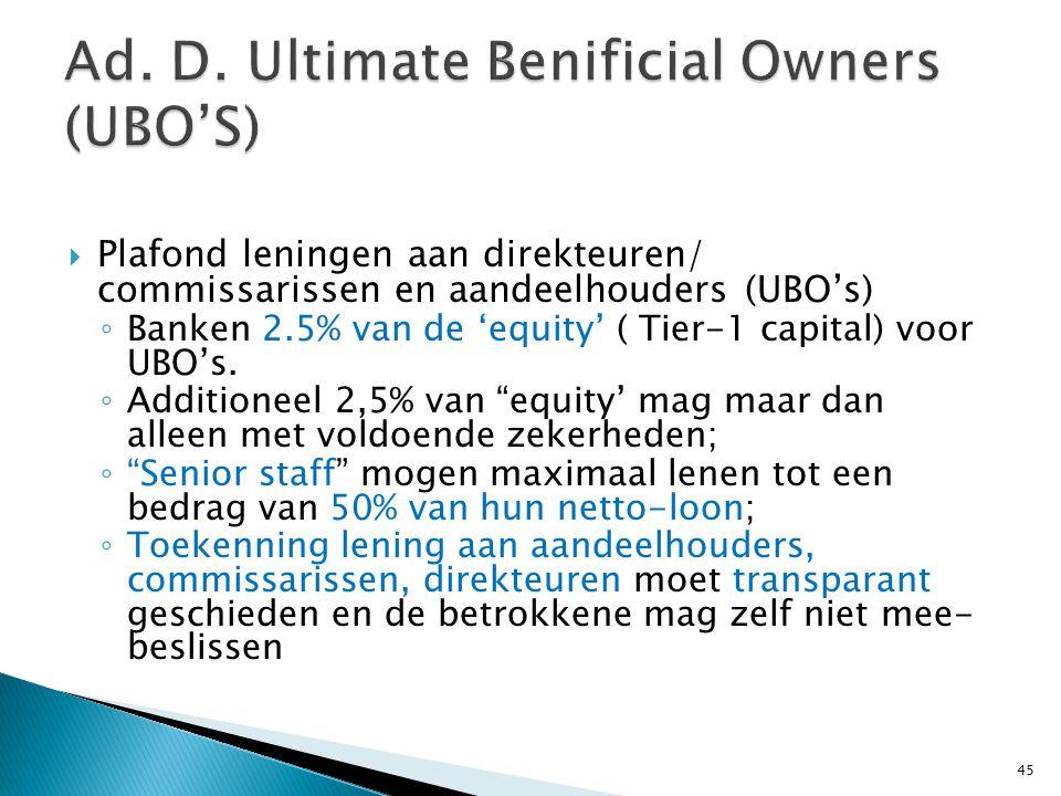  Plafond leningen aan direkteuren/ commissarissen en aandeelhouders (UBO's) ◦ Banken 2.5% van de 'equity' ( Tier-1 capital) voor UBO's. ◦ Additioneel