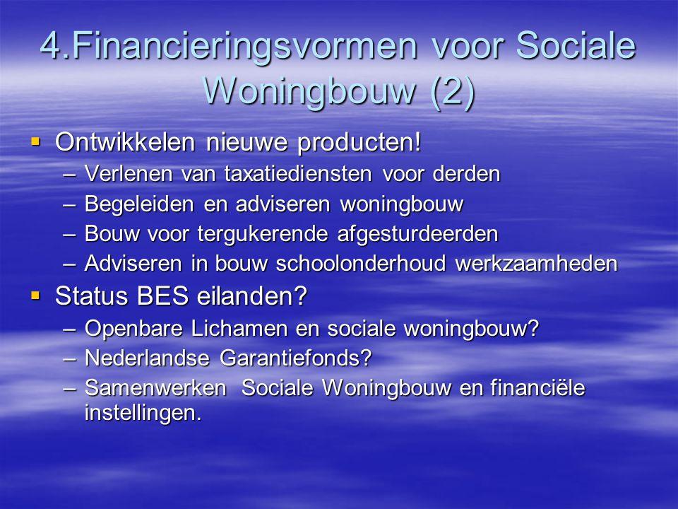 4.Financieringsvormen voor Sociale Woningbouw (2)  Ontwikkelen nieuwe producten.