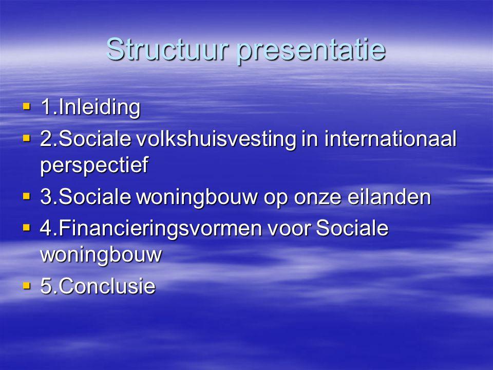 Structuur presentatie  1.Inleiding  2.Sociale volkshuisvesting in internationaal perspectief  3.Sociale woningbouw op onze eilanden  4.Financieringsvormen voor Sociale woningbouw  5.Conclusie