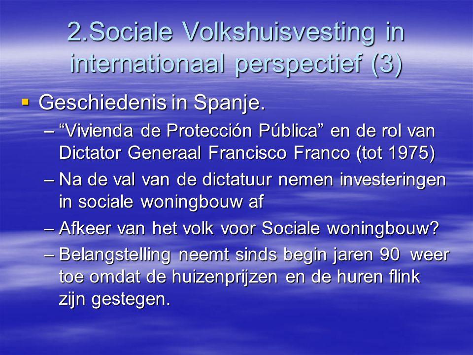2.Sociale Volkshuisvesting in internationaal perspectief (3)  Geschiedenis in Spanje.