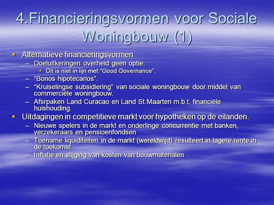 4.Financieringsvormen voor Sociale Woningbouw (1)  Alternatieve financieringsvormen –Doeluitkeringen overheid geen optie.