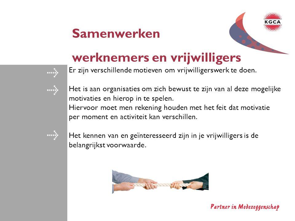 Samenwerken werknemers en vrijwilligers Er zijn verschillende motieven om vrijwilligerswerk te doen. Het is aan organisaties om zich bewust te zijn va